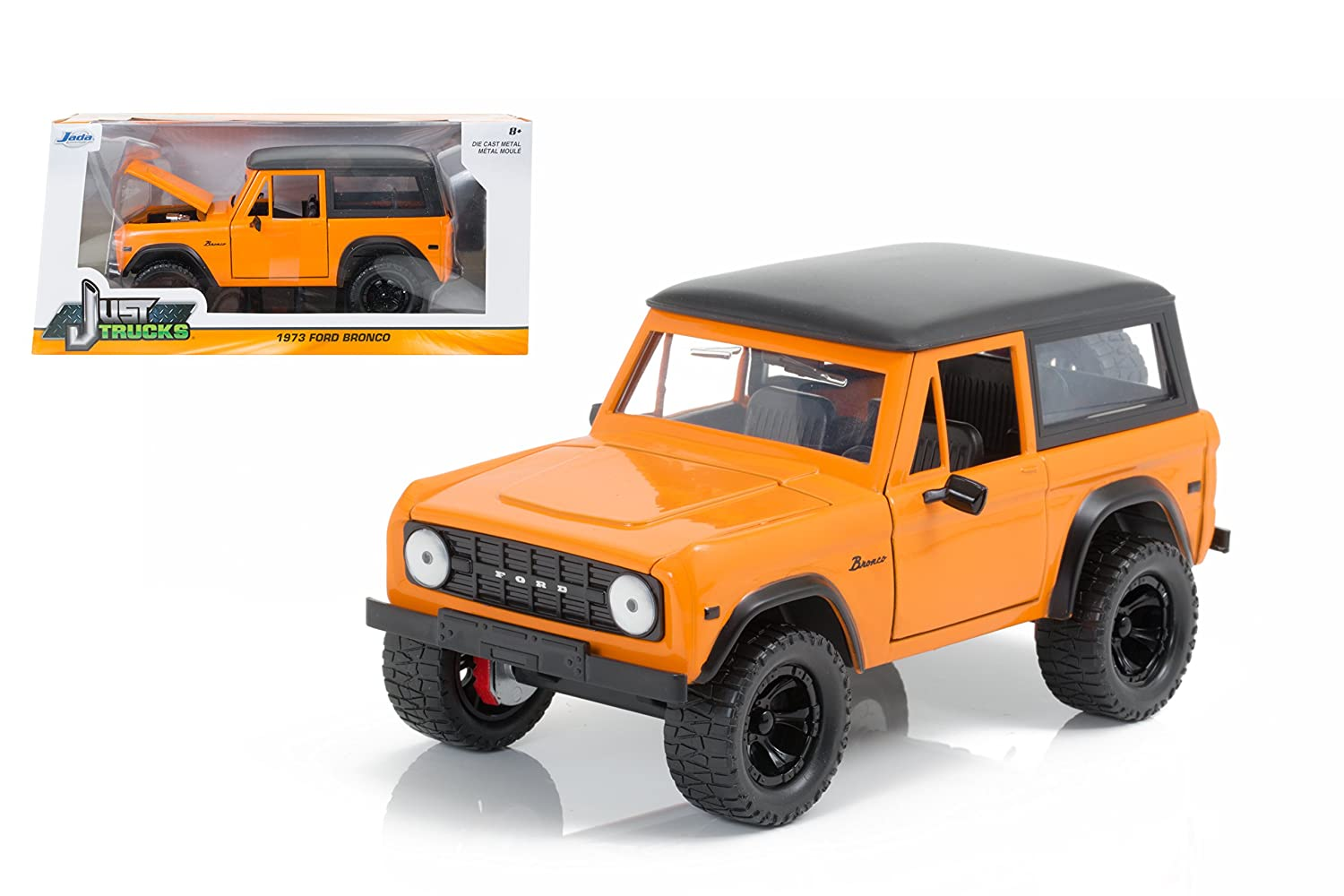 Amazon com new 124 w b jada toys just trucks collection orange 1973 ford bronco diecast model car by jada toys toys games