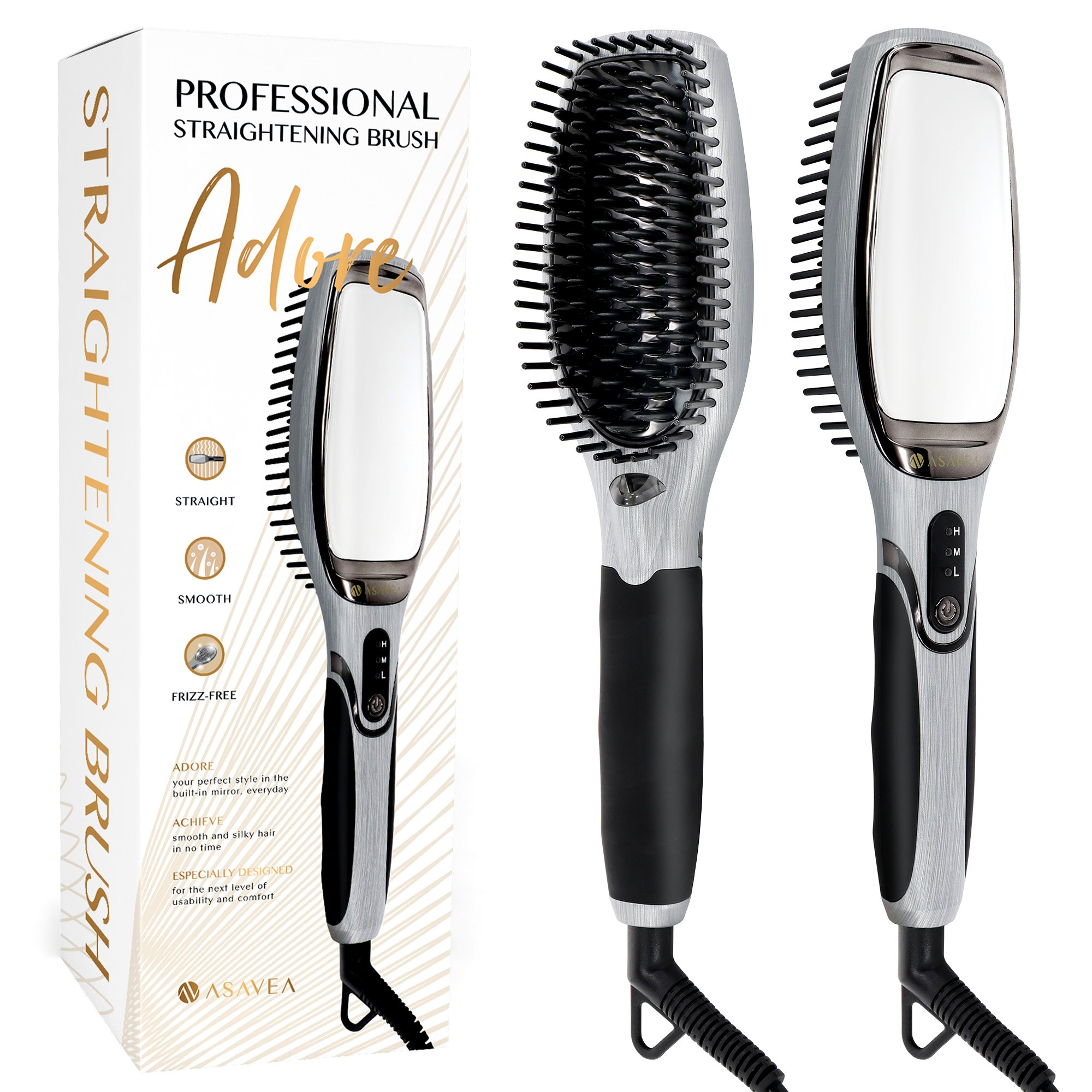 AsaVea Professional Hair Straightening Brush (Black/Grey)