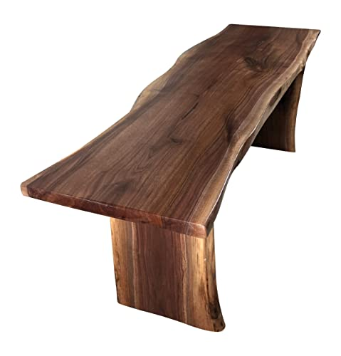 Live Edge Wooden Bench Solid Wood Dining Bench Rustic Home D cor Furniture Natural Edge Wooden Slab Bench 4 Long, Walnut Wood with Clear Coat