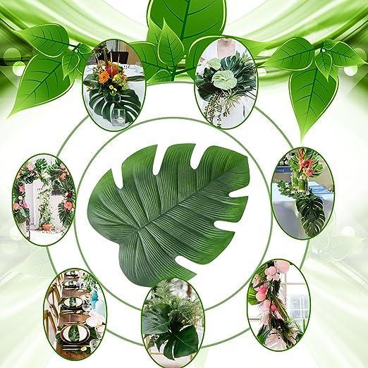 plantas artificiales para mesas del comedor a prueba de aceite Paquete de 6 Tropical Palm Leaf pvc hoja de loto de alta calidad con aislamiento t/érmico impermeable de PVC hojas de palma Mantel individual para mesa de JYCRA antideslizante