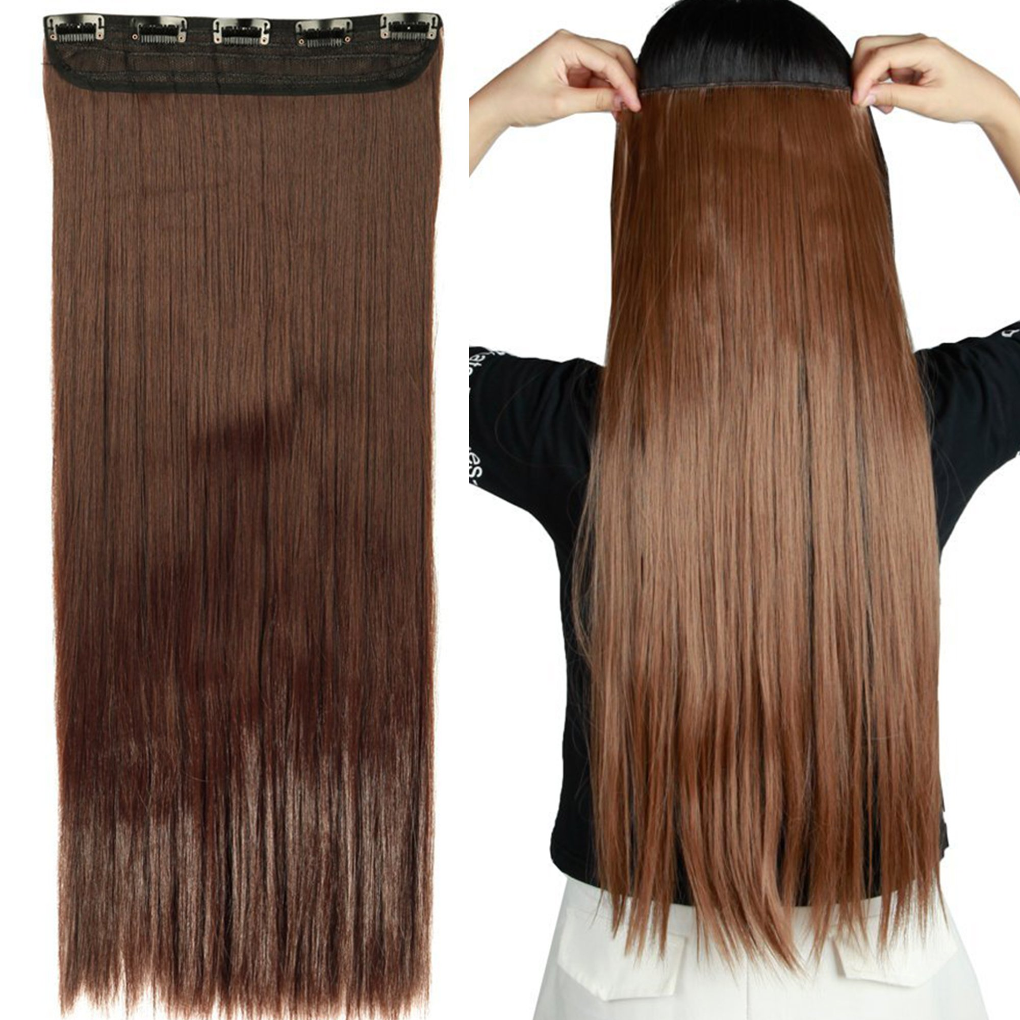 Amazon reecho fashion one piece clip in hair bangs fringe s noilite 2426 straight curly 34 full head one pmusecretfo Images