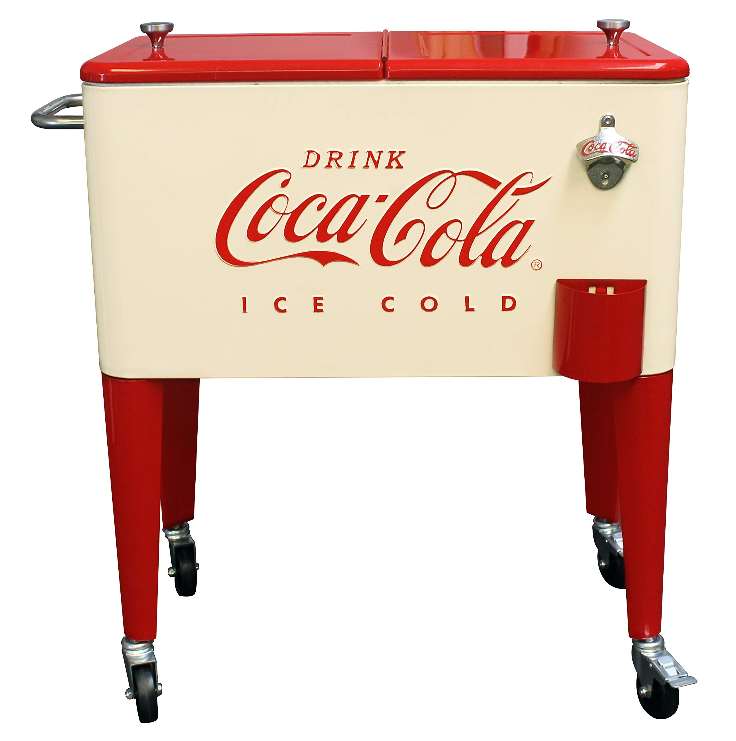 Leigh Country CP 98111 Cream and Red 60 Qt. Coca-Cola Rolling Cooler, Cream & Red by Leigh Country