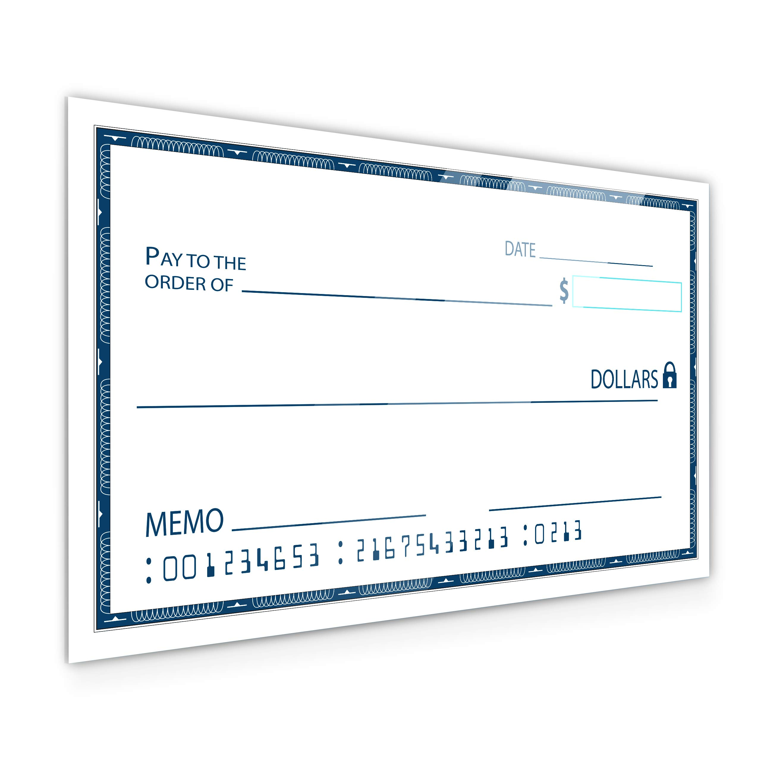 [Dry Erase] 24'' x 48'' Oversize Giant Check - Large Fake Checks - Reusable Big Blank Presentation Check for Charity Donation, Lottery, Raffle, Novelty, Fundraiser, Endowment, Gag Gift (White) (1) by JJ CARE
