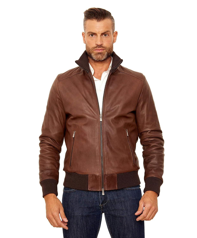 fd9065374 Amazon.com: Men's Italian Leather Bomber Jacket Brown: Handmade