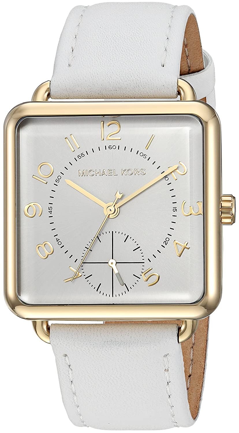 59325eb9df69 Amazon.com  Michael Kors Women s Stainless Steel Analog-Quartz Watch with  Leather Calfskin Strap