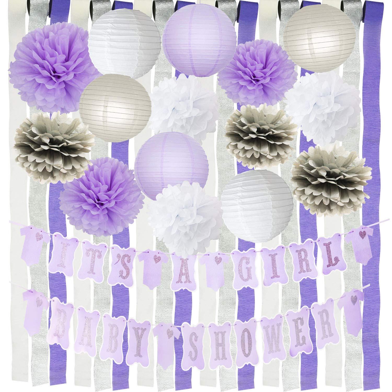 Purple Silver Baby Shower Decorations It's A Girl Purple Silver Baby Shower Banner Purple Grey White Tissue Pom Poms Purple Crepe Paper Streamers Girl Purple Baby Shower Decor