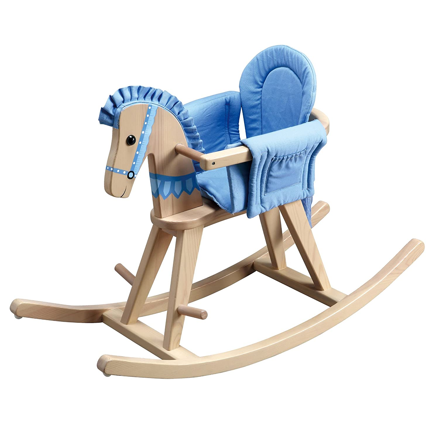 Teamson Kids - Safari Wooden Rocking Horse with Removeable Safety Surrond Pad for Toddlers - Natural/Blue TD-0002A