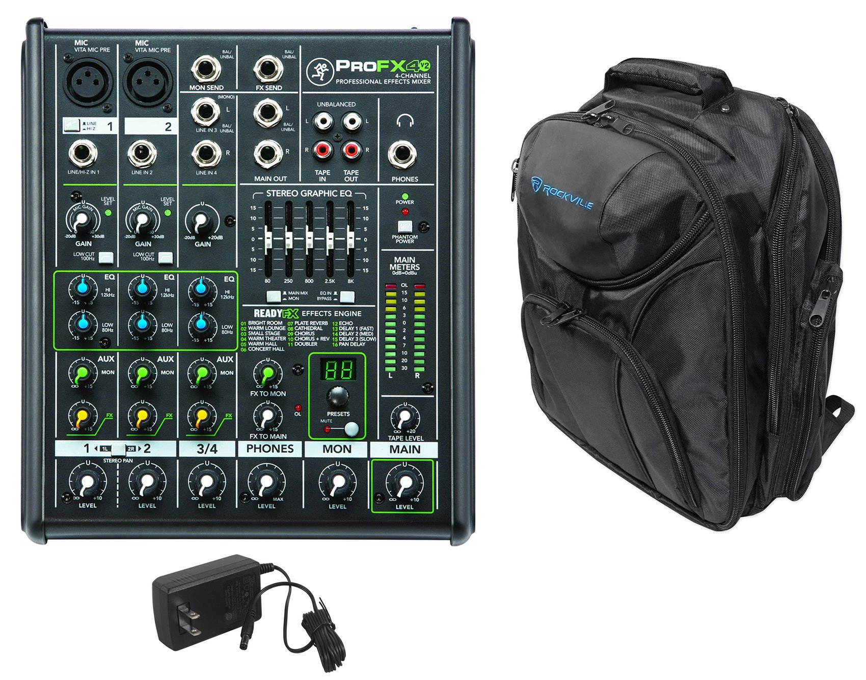 Mackie PROFX4v2 Pro 4 Channel Compact Mixer w Effects PROFX4 V2+Backpack Bag