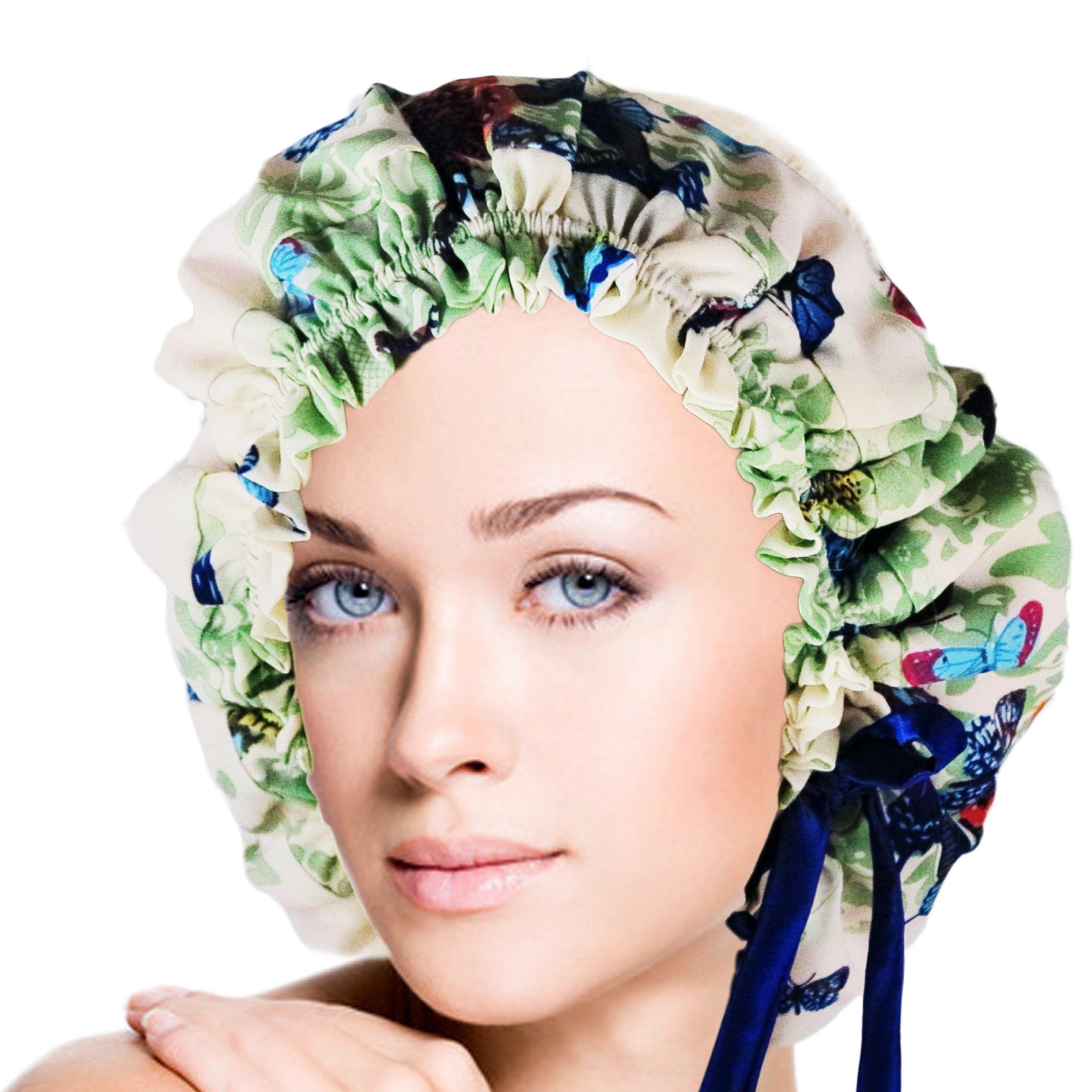 Adjustable Double Layers Butterfly Print Silk Sleep Cap Night Cap Head Cover Bonnet for Hair Beauty Fits head sizes: 20.5''-30'' (52-76cm)