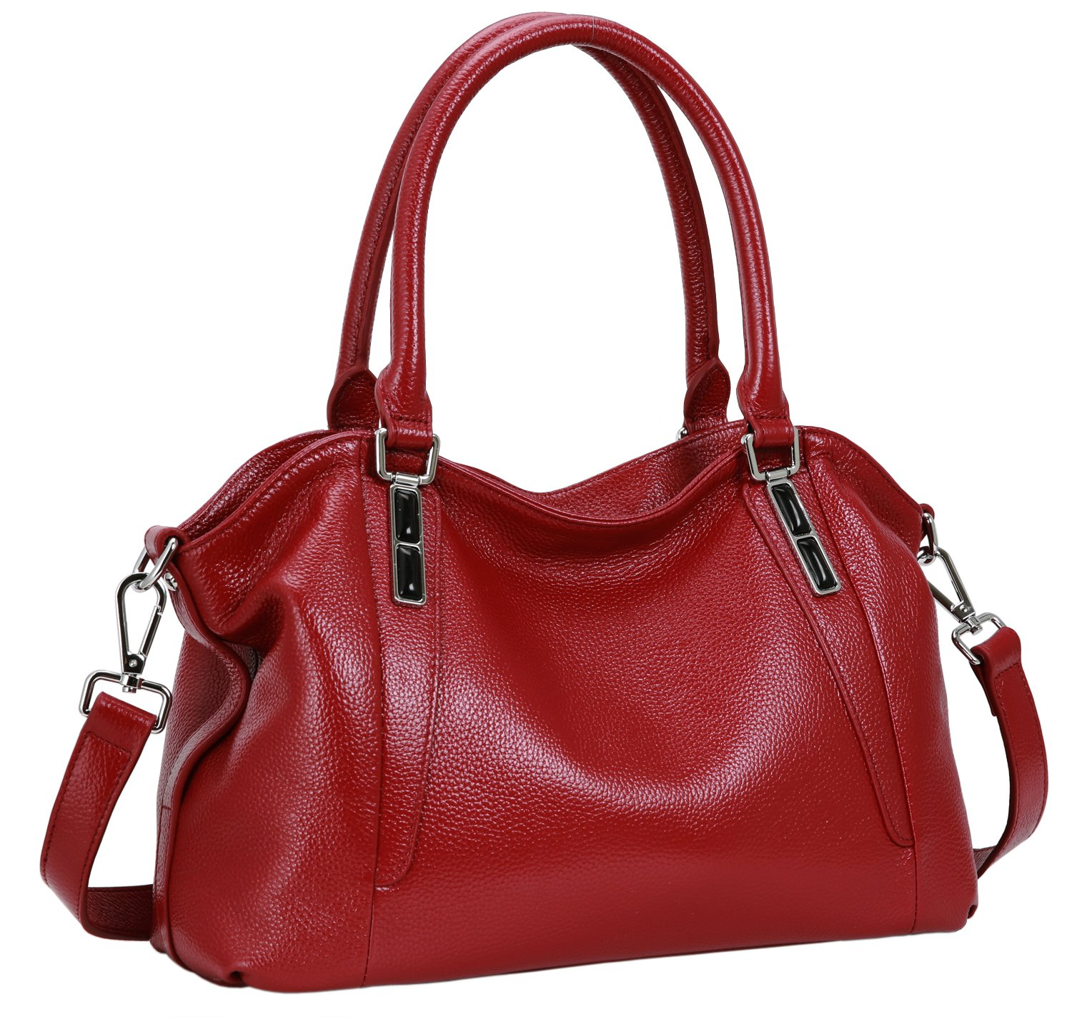 Iswee Leather Shoulder Bag Tote Top Hanldle Handbag Satchel Cross Body Purses for Women on Clearance (Wine)