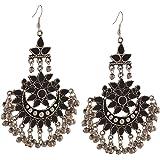 Zephyrr Fashion Oxidized Silver Afghani Tribal Dangler Hook Chandbali Earrings Jewellery for Girls and Women