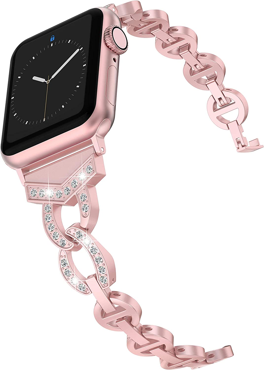Wearlizer Rose Gold Bands Compatible with Apple Watch Band 42mm 44mm Rhinestone Wristband Women Replacement Wrist Strap for Apple Watch SE Series 6 5 4 3 2 1-42mm 44mm Rose Gold