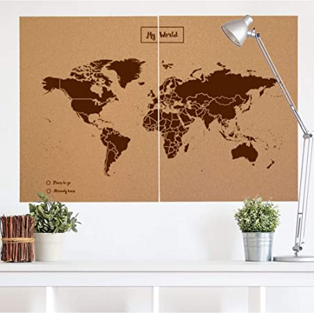 Miss Wood Map Mapa del Mundo de Corcho, Marrón, XXL (120x90cm): Amazon.es: Hogar