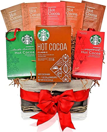 starbucks christmas hot cocoa variety decorative gift basket 7 popular christmas flavors peppermint