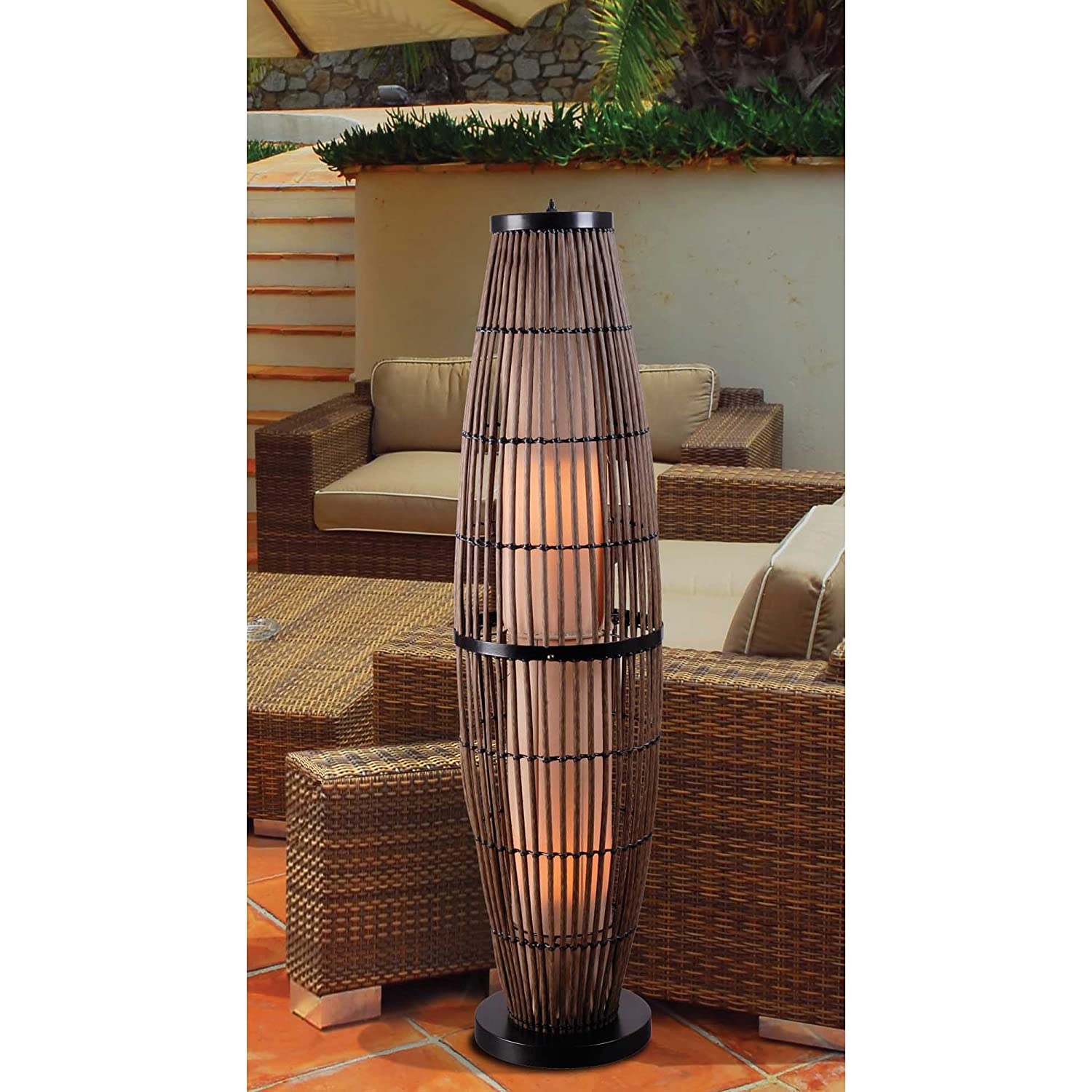 Delightful Kenroy Home 32248RAT Biscayne Outdoor Floor Lamp, Rattan Finish With Bronze  Accents     Amazon.com