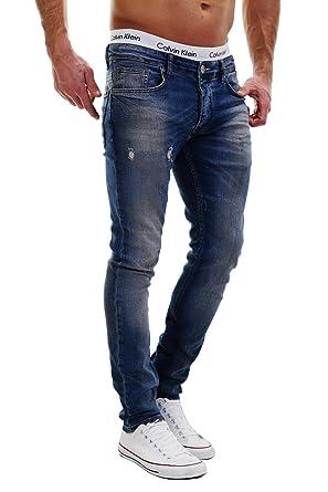 MERISH Vaqueros para Hombre Pantalones Slim Fit Algunos óptica destruida Ligeramente Blanqueado Casual y Moderno Modell J2021