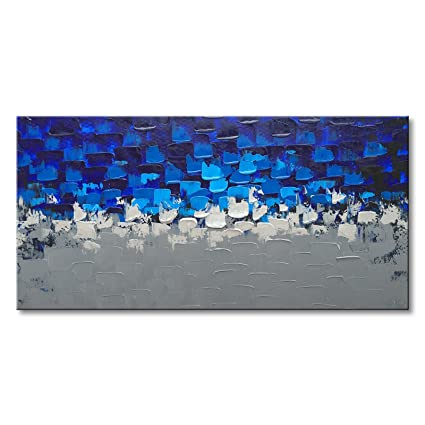 7e2c6f7b32a Image Unavailable. Image not available for. Color  Blue and Silver Abstract  Wall Art on Canvas Textured Handmade Oil Painting