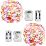 Led String Lights Battery Powered,[2 Pack] Fairy String Lights Battery Operated Waterproof 8 Modes 100 LED 33ft with Remote Control Christmas Decoration Lights (Multi-colored-10M)