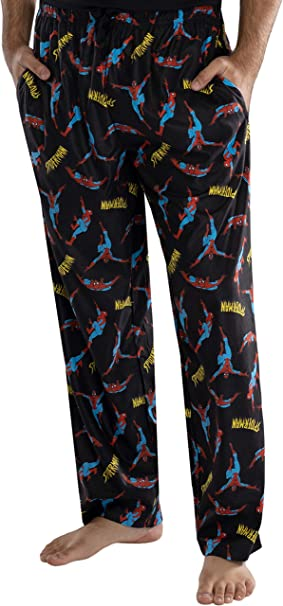 INTIMO Marvel Comics Mens Spider-Man Logo Plaid Lounge Pants Sleepwear Pajama Pants