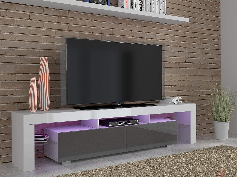 Blanc//noir//gris 190 cm Wei/ß Matt//Schwarz Hochglanz Meuble bas Finition brillante Meuble Hi-Fi Meuble TV 190 cm /à /éclairage LED