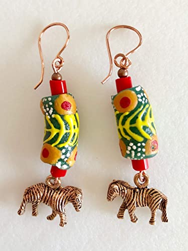krobo slice beads earring long chunky tribal earring heart shape wood bead silver and charms 3.75 inches long. Africa beads earring