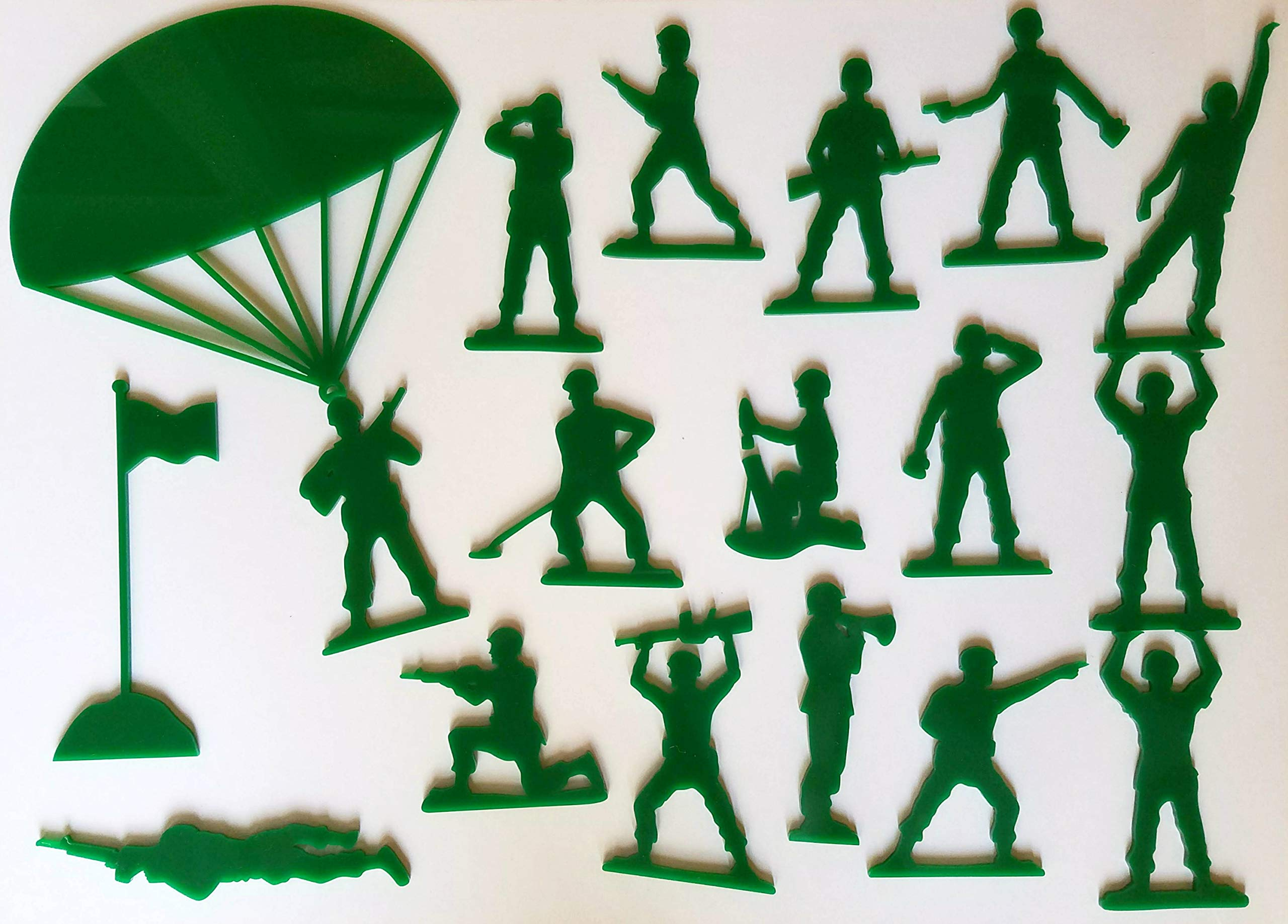 Set of 18 Army Men Acrylic Green Wall Decorations for a Kid's Toy Story Room or Andy's Room Nursery