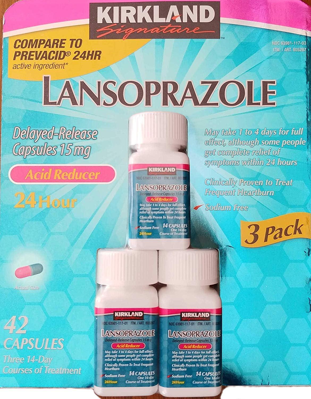 Kirkland Signature Kirkland Lansoprazole 3 Pack Delayed-Release Total 42 Capsules, Blue