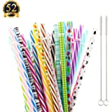 "SUBANG 50 Pack Reusable Straws, BPA-Free, 9"" Colorful Hard Plastic Stripe Drinking Straw for Mason Jar Tumbler, Family or Party Use With Cleaning Brush"