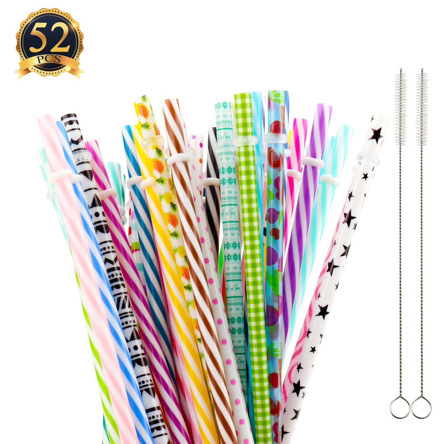 SUBANG 50 Pack Reusable Straws, BPA-Free, 9'' Colorful Hard Plastic Stripe Drinking Straw for Mason Jar Tumbler, Family or Party Use With Cleaning Brush by SUBANG
