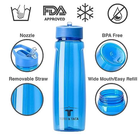 TOTO & TATA - Deportes Botella De Agua 750 ml Plástico y sin BPA: Amazon.es: Deportes y aire libre