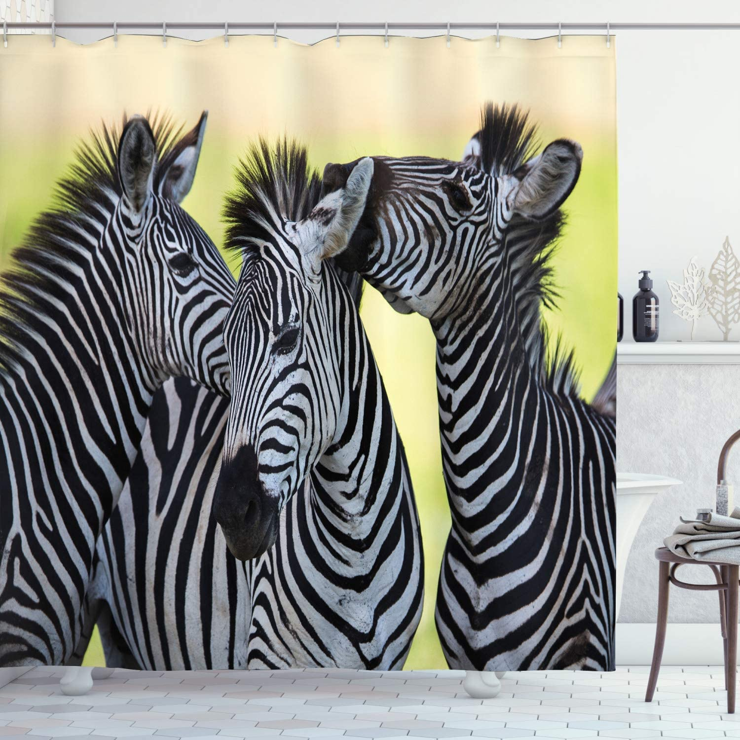 ZHHLD Zebra Safari Wild Nature Picture Print Bathroom Shower Curtain Waterproof Non-Toxic Privacy Opaque Bathroom Decoration Easy to Clean 71x71inch Including 12 Plastic Hooks