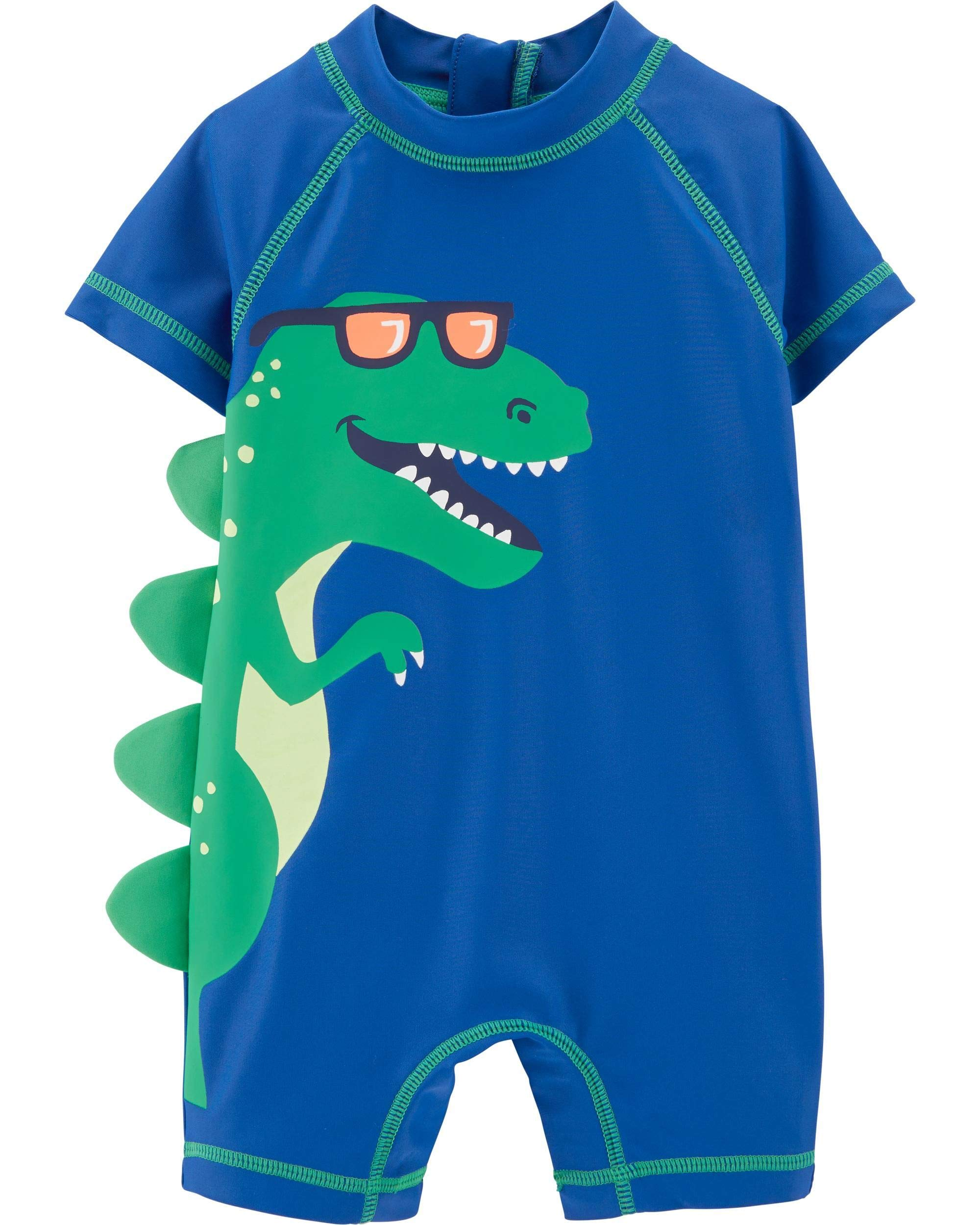 Carter's 1 Piece Baby Boy's Dinosaur Rashguard Swim Bathing Suit 50+ UPF (3 Months) Blue and Green by Carter's