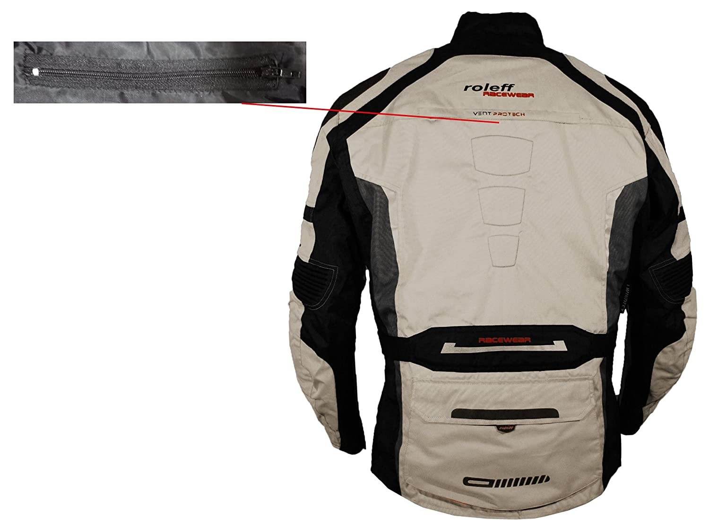 Bel/üftungssystem Klimamembrane und herausnehmbarem Thermofutter von Roleff Racewear Helle Motorradjacke mit Protektoren