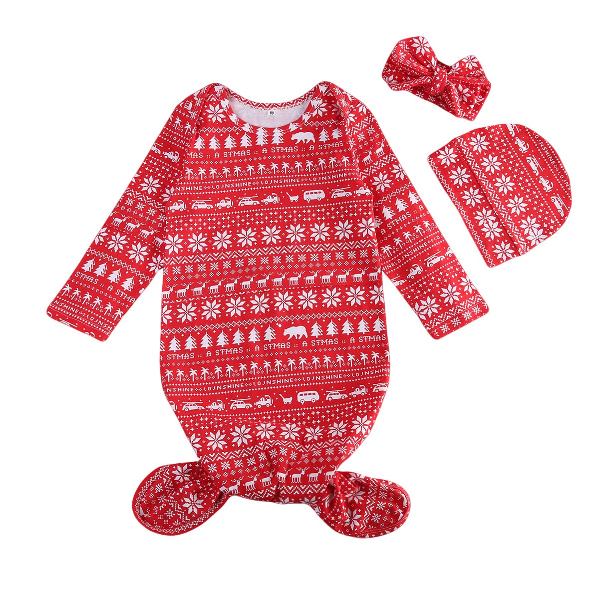 3PCS Newborn Baby Boys and Girls Xmas Striped Gown Romper Coming Home Sleepwear Sleeping Bags Outfit