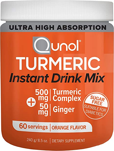 Qunol Turmeric Curcumin Instant Drink Mix, Ultra High Absorption, 500mg + 50mg Ginger, Supports Healthy Inflammation Response and Joint Support, Dietary Supplement, 60 Servings