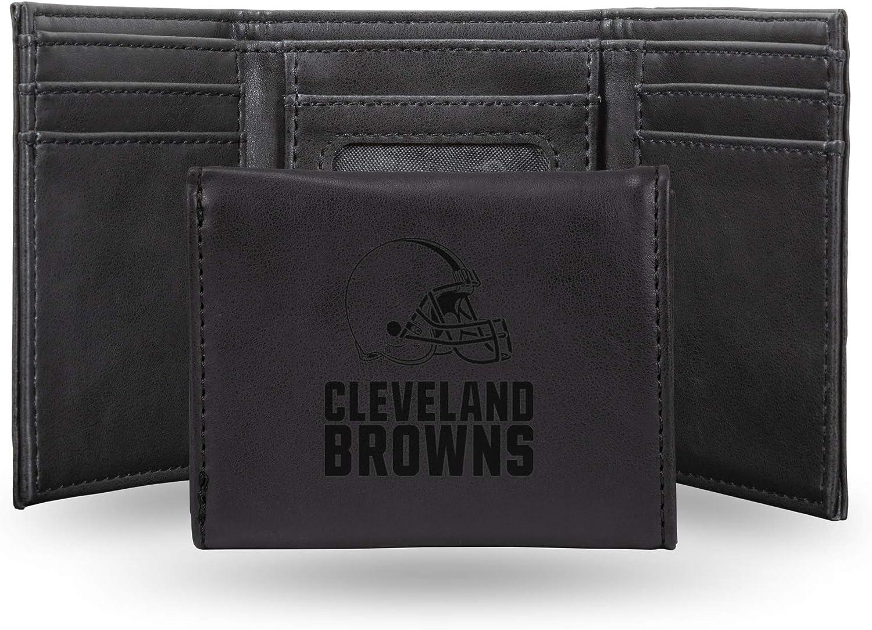 Rico Industries NFL Laser Engraved Tri-Fold Wallet Black