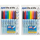 EXPO Vis-A-Vis Wet-Erase Overhead Transparency Markers vltVMd, Fine Point, Assorted Colors, 16 Count