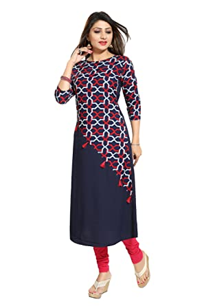 ALC Creations Women's Faux Crepe A-Line Kurti Kurtas at amazon