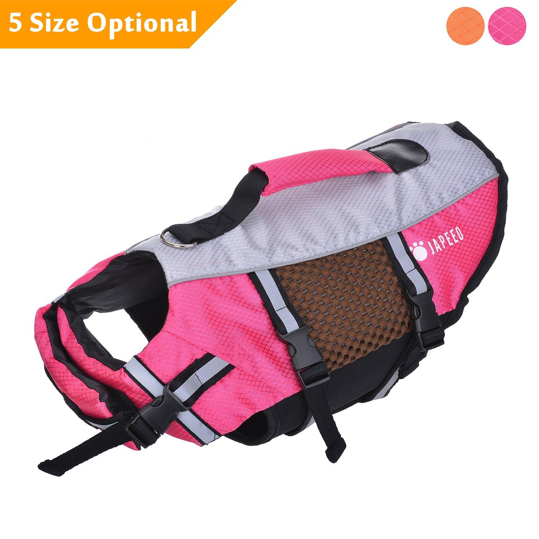 Japeeo Dog Life Jacket Swimming - Puppy Pool Float Vest - Doggie Floatation Lifejacket - Doggy PFD Lifevest Swim Raft - English, French Bulldog Swimsuit Bathing Suit Floaties (XSmall, Pink)