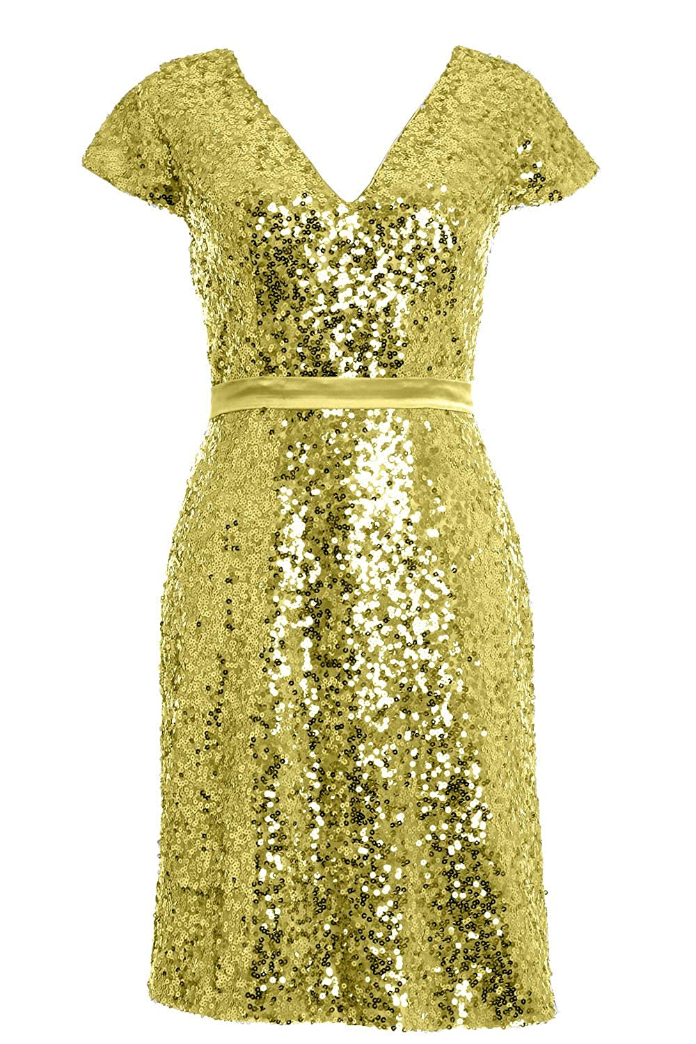 MACloth 2016 Women Cap Sleeve Sequin Short Bridesmiad Dress Cocktail Party Gown