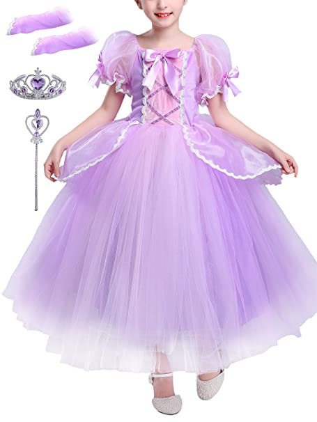 YONIER Costumi Bambina Principessa Sofia Rapunzel Vestito Carnevale Festa  Nuziale Compleanno Cerimonia Abito Ragazze Comunione Natale Fiore Nozze  Gonna ... 1922b919812a
