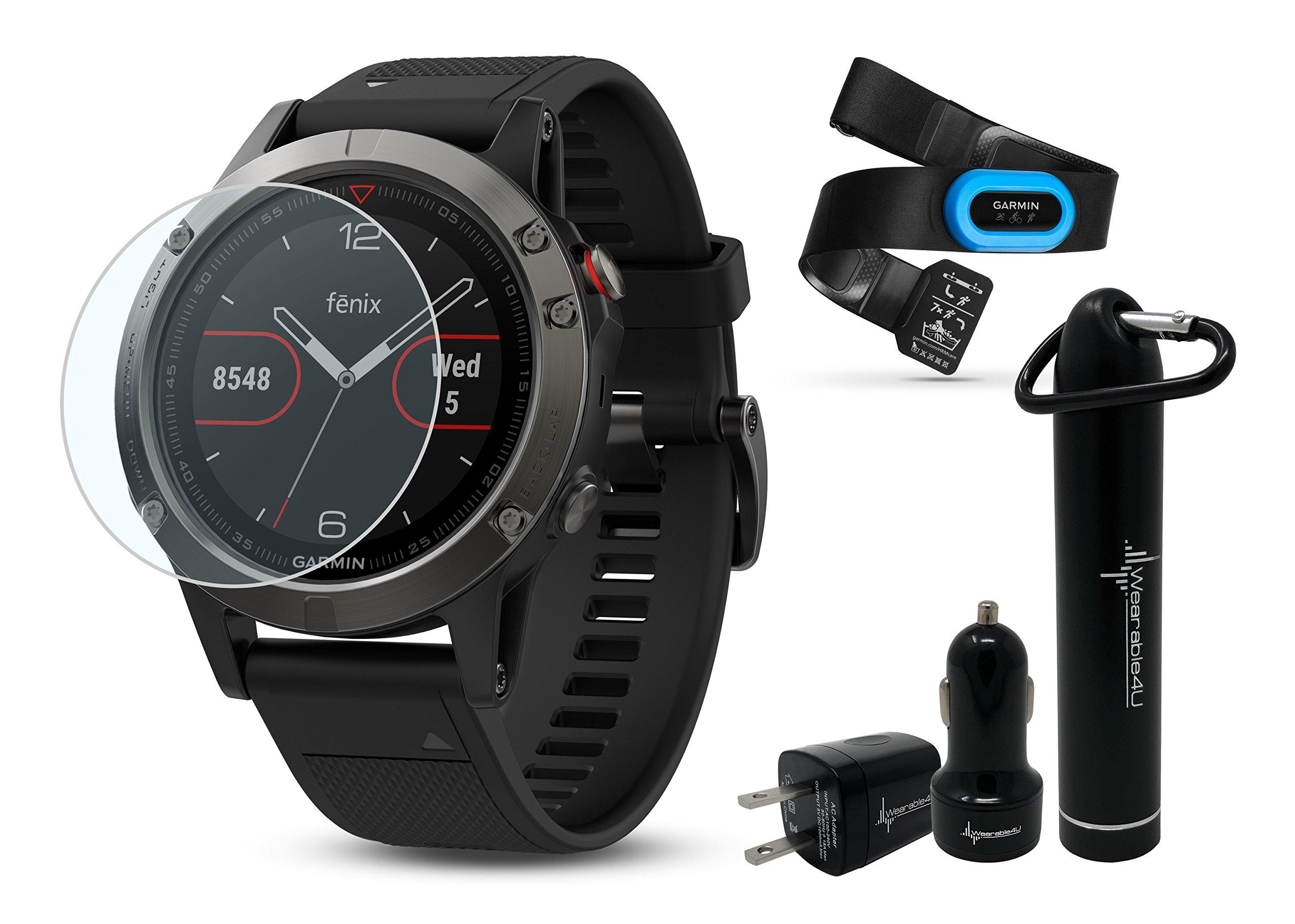 Garmin Fenix 5 GPS Multisport Watch Ultimate Bundle | Includes Garmin Fenix 5 Watch (47mm), HD Glass Screen Protector, Wearable4U Power Bank, Wearable4U Car / Wall USB Charging Adapters | by Wearable4U