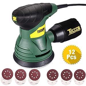 TECCPO Ponceuse Excentrique, 350W, 14,000 RPM, pour polir le bois aussi le métal, TARS22P (22p)