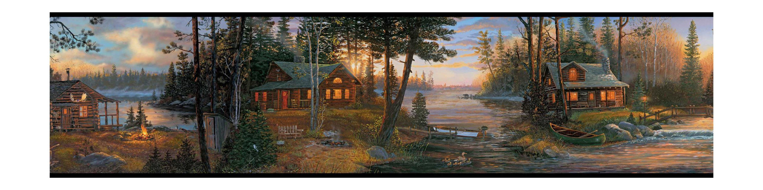 York Wallcoverings Lake Forest Lodge CH7842BD Cabin Fever Border, Multi Black Band