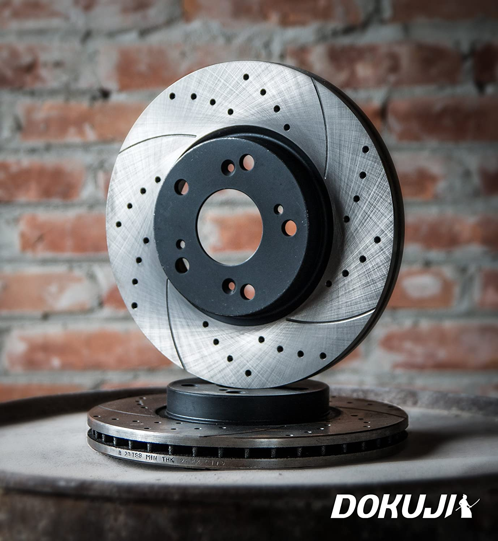 DOKUJI RS in Spitzenqualit/ät. Bel/üftete Sport Bremsscheiben VORN f/ür Navara D40 2 St/ück f/ür die Vorderr/äder