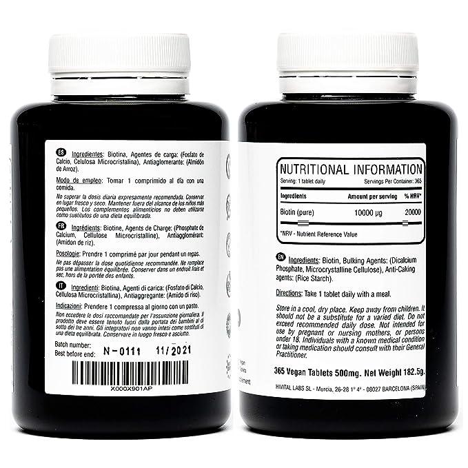 Biotina 10.000 mcg (Vitamina B7) | 365 comprimidos (Suministro anual) | Estimula el crecimiento del cabello, ayuda a mantener la piel y las uñas ...