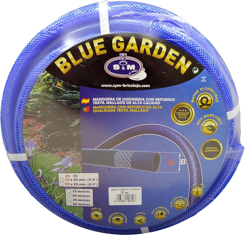 19 x 25 mm S/&M 553110 Manguera De Jardiner/ía Reforzada Azul