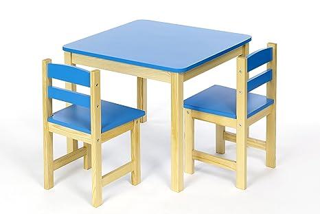 Ts ideen tavolo sedie per bambini set legno azzurro blu amazon