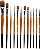 KINGART Radiant TAKLON Set of 12 Paint Brush Set, Assorted, Gold, Silver, Black, Wood Stain