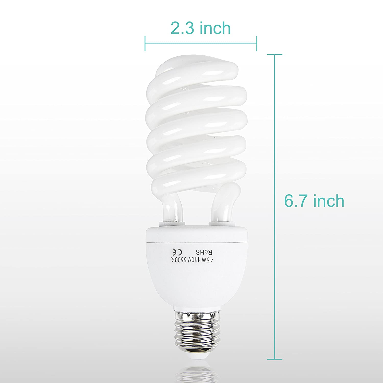 Emart 105 Watt Full Spectrum Photography Lighting Photo Studio Light Bulb 4 Pack 5500K CFL Daylight Balanced
